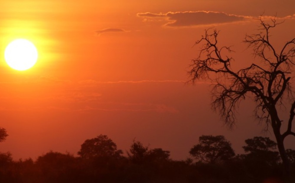 Zonsondergang Caprivi Namibië Botswana