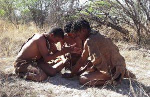 San making fire in the Kalahari